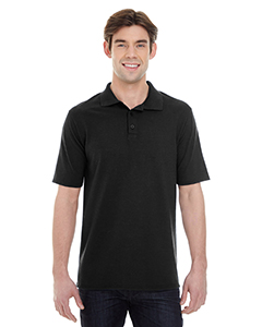 Black Men's X-Temp Piqué Short-Sleeve Polo with Fresh IQ