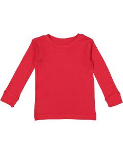 Red Infant Long-Sleeve Baby Rib PajamaTop