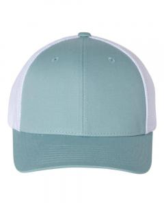Smoke Blue/ White Fitted Trucker with R-Flex