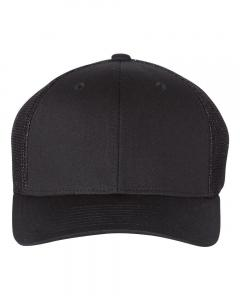 Black Fitted Trucker with R-Flex