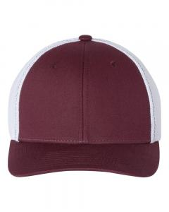 Maroon/ White Fitted Trucker with R-Flex