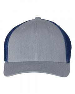 Heather Grey/ Royal Fitted Trucker with R-Flex