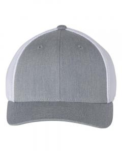 Heather Grey/ White Fitted Trucker with R-Flex