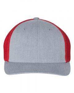 Heather Grey/ Red Fitted Trucker with R-Flex