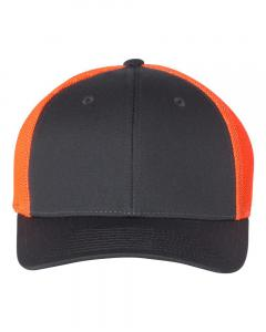 Charcoal/ Neon Orange Fitted Trucker with R-Flex