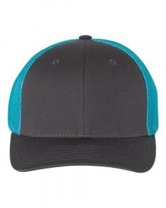 Charcoal/ Neon Blue Fitted Trucker with R-Flex