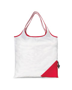 White/ Red Latitiudes Foldaway Shopper Tote