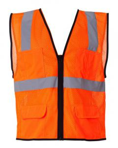 Orange Economy Mesh 6-Pocket Vest