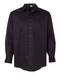 Black Adult Non-Iron Micro Pincord Long Sleeve Shirt