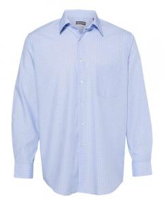 Light Blue Combo Men's Broadcloth Point Collar Check Shirt