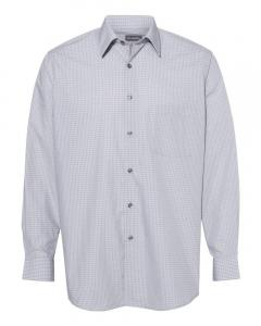 Silver Combo Men's Broadcloth Point Collar Check Shirt