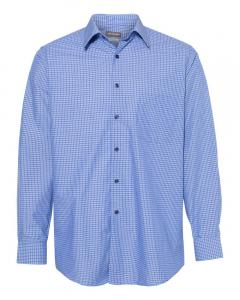 Dark Blue Combo Men's Broadcloth Point Collar Check Shirt