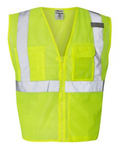 Lime Clear ID Vest with Zipper Closure