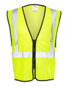 Lime Class 2 Zippered Mesh Economy Vest