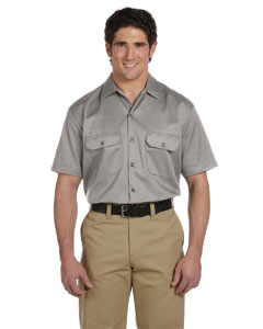 Silver Gray Men's 5.25 oz. Short-Sleeve Work Shirt