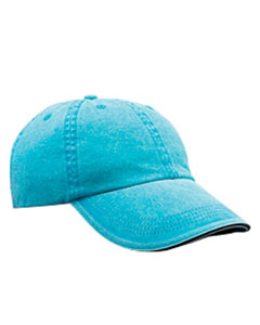 Aqua Solid Low-Profile Sandwich Trim Pigment-Dyed Twill Cap