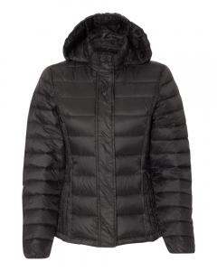 Black Women's 32 Degrees Hooded Packable Down Jacket