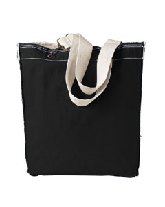 Black 14 oz. Direct-Dyed Raw-Edge Tote