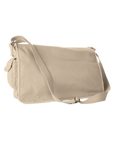 Putty 14 oz. Pigment-Dyed Raw-Edge Messenger Bag