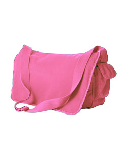 Flamingo 14 oz. Pigment-Dyed Raw-Edge Messenger Bag