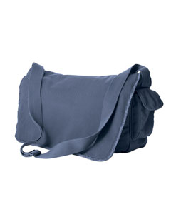 Denim 14 oz. Pigment-Dyed Raw-Edge Messenger Bag
