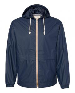 Navy Vintage Hooded Rain Jacket