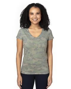 Green Hex Camo Ladies' Ultimate V-Neck T-Shirt