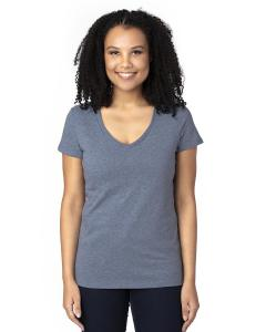 Navy Heather Ladies' Ultimate V-Neck T-Shirt