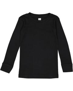 Black Toddler Long-Sleeve Baby Rib PajamaTop