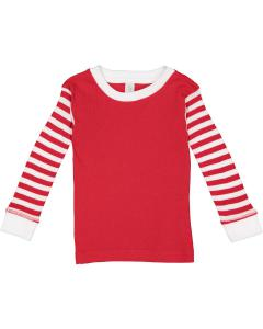 Rd/ Rd Wh St/ Wh Toddler Long-Sleeve Baby Rib PajamaTop