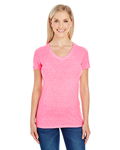 Neon Pink Tribld Ladies' Triblend Short-Sleeve V-Neck Tee