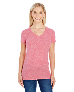 Red Triblend Ladies' Triblend Short-Sleeve V-Neck Tee