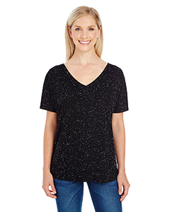 Black Fleck Ladies' Triblend Fleck Short-Sleeve Flowy V-Neck Tee