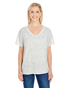 Cream Fleck Ladies' Triblend Fleck Short-Sleeve Flowy V-Neck Tee