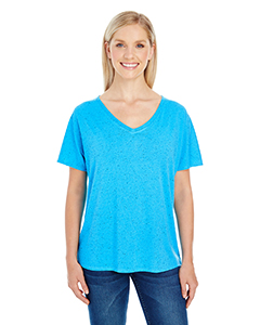 Turquoise Fleck Ladies' Triblend Fleck Short-Sleeve Flowy V-Neck Tee
