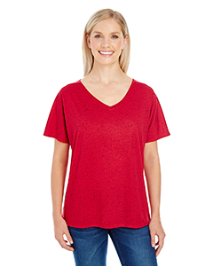 Red Fleck Ladies' Triblend Fleck Short-Sleeve V-Neck T-Shirt