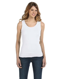 White Women's Combed Ringspun 2x1 Rib Tank Top
