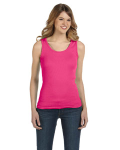 Hot Pink Ladies' 1x1 Baby Rib Tank