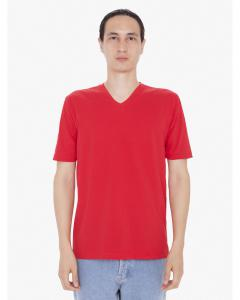 Red Unisex FINE JERSEY SHORT SLEEVE CLASSIC V-NECK