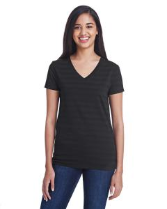Blck Invsbl Strp Ladies' Invisible Stripe V-Neck T-Shirt