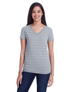 Hth Gry Inv Strp Ladies' Invisible Stripe V-Neck T-Shirt