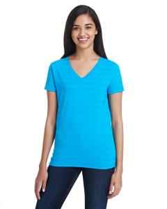 Turq Invsbl Strp Ladies' Invisible Stripe V-Neck T-Shirt