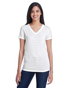 Wht Invsbl Strp Ladies' Invisible Stripe V-Neck T-Shirt