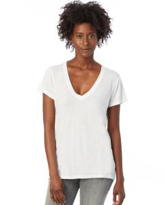 White Ladies' Melange Burnout Slinky-Jersey V-Neck T-Shirt