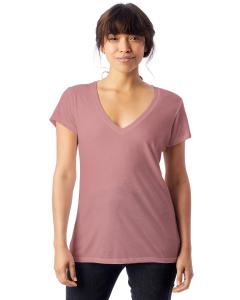 Rose Bloom Ladies' Melange Burnout Slinky-Jersey V-Neck T-Shirt