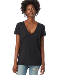 Black Ladies' Melange Burnout Slinky-Jersey V-Neck T-Shirt