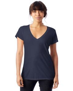 Navy Ladies' Melange Burnout Slinky-Jersey V-Neck T-Shirt