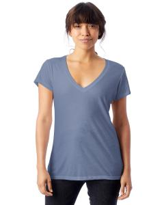 Stonewash Blue Ladies' Melange Burnout Slinky-Jersey V-Neck T-Shirt