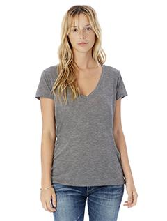 Ash Heather Ladies' Melange Burnout Slinky-Jersey V-Neck T-Shirt
