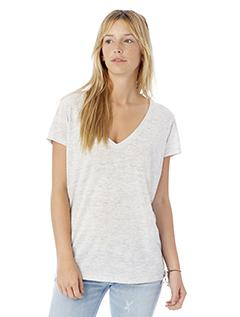 Oatmeal Heather Ladies' Melange Burnout Slinky-Jersey V-Neck T-Shirt